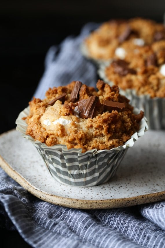 S'mores Muffins on a plate in a cupcake liner