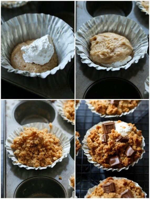 colagem de fotos fazendo muffins de s'mores