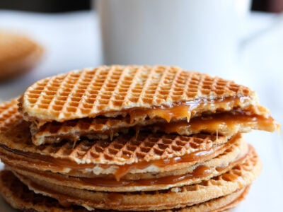 stacked stroopwafles stack with one broken in half