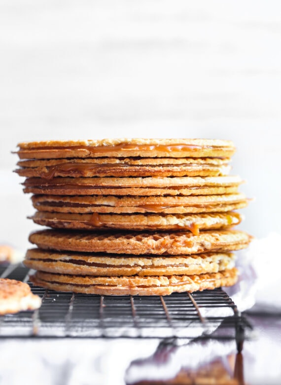 stack of waffle cookies filled with caramel
