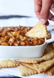Apple Pie Dip with a pie crust chip to dip