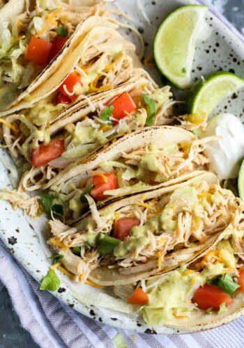 Beergarita chicken tacos on a plate with toppings