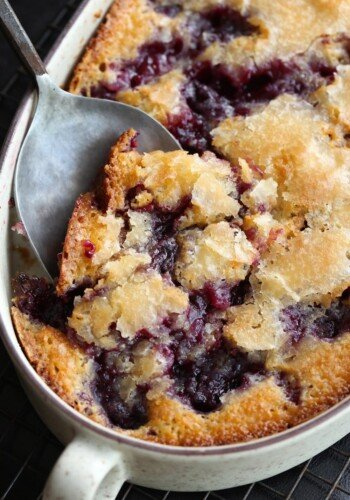 Cobbler with a spoon taking a scoop
