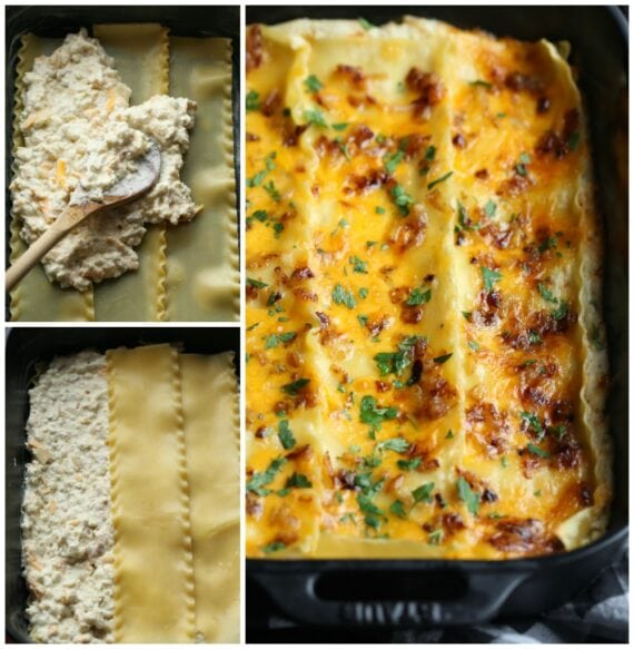 Three Images Displaying the Layering Process for a Pierogi Casserole