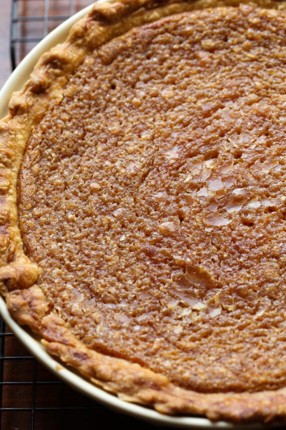 The Top of a Freshly Baked Sweet Potato Pie