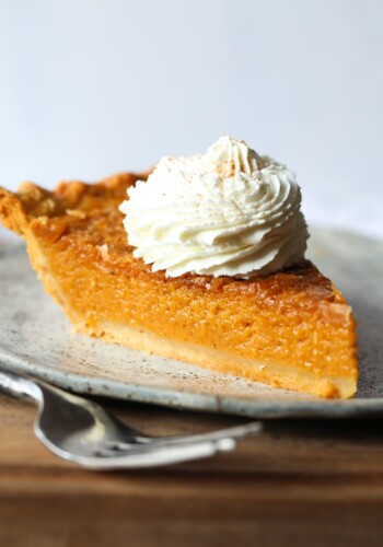 A Piece of Old Fashioned Sweet Potato Pie on a Plate