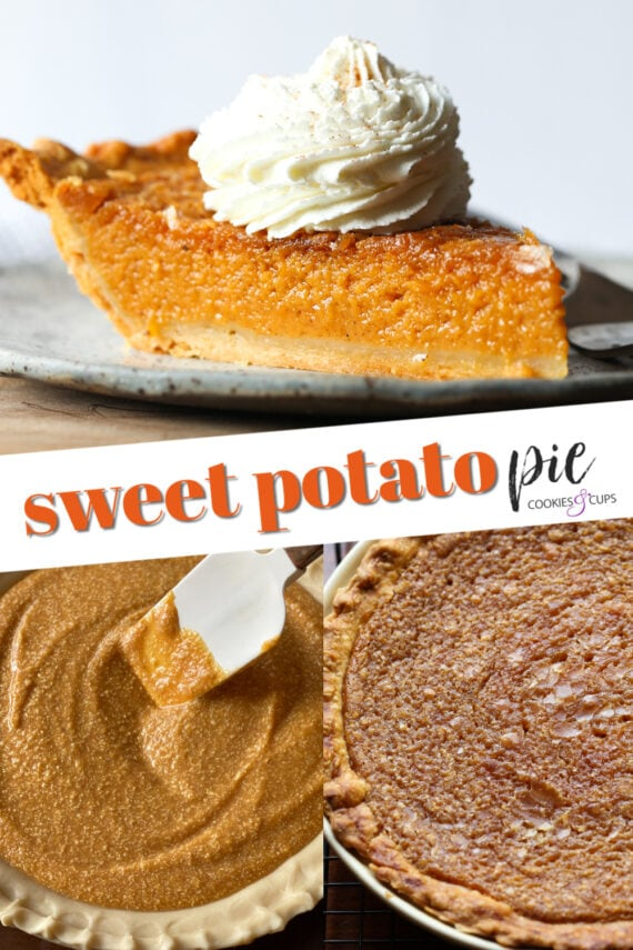 A Homemade Sweet Potato Pie Before and After Cooking and Serving Pinterest Image