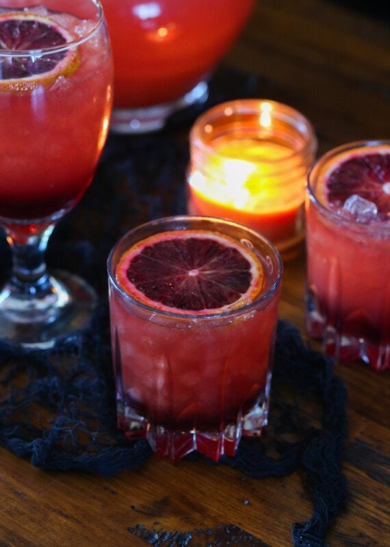 Party Punch garnished with a blood orange