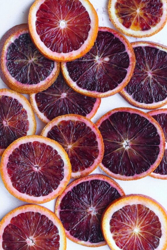 Slice blood oranges