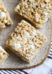Brown Butter Krispie Treats made with pumpkin spice on a plate from above