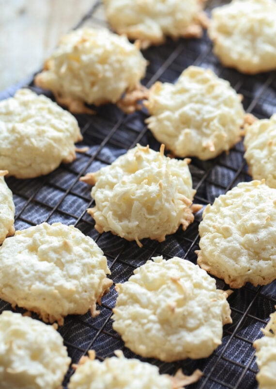 Coconut Macaroons on a Black Cooling Rack