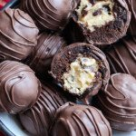 Brownie truffle filled with cookie dough broekn in half