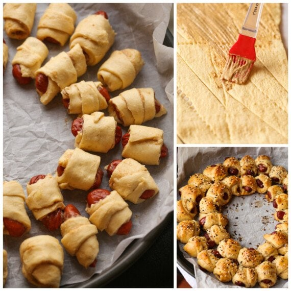 Collage making pigs in a blanket