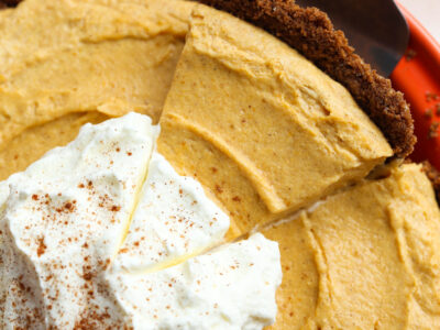 A Slice of Pumpkin Mousse Pie on a Dessert Spatula