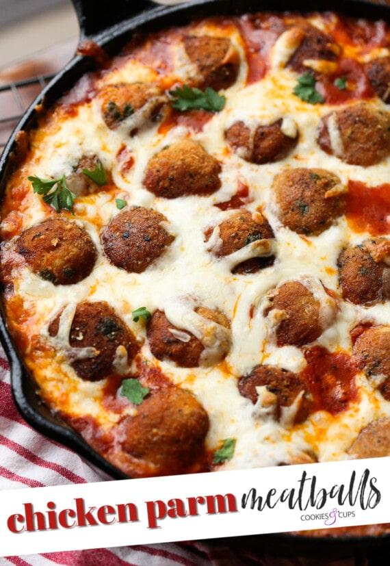 Chicken Parm Meatballs Pinterest Image
