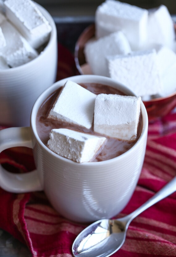 Three Homemade Marshmallows Floating in a Mug of Hot Chocolate