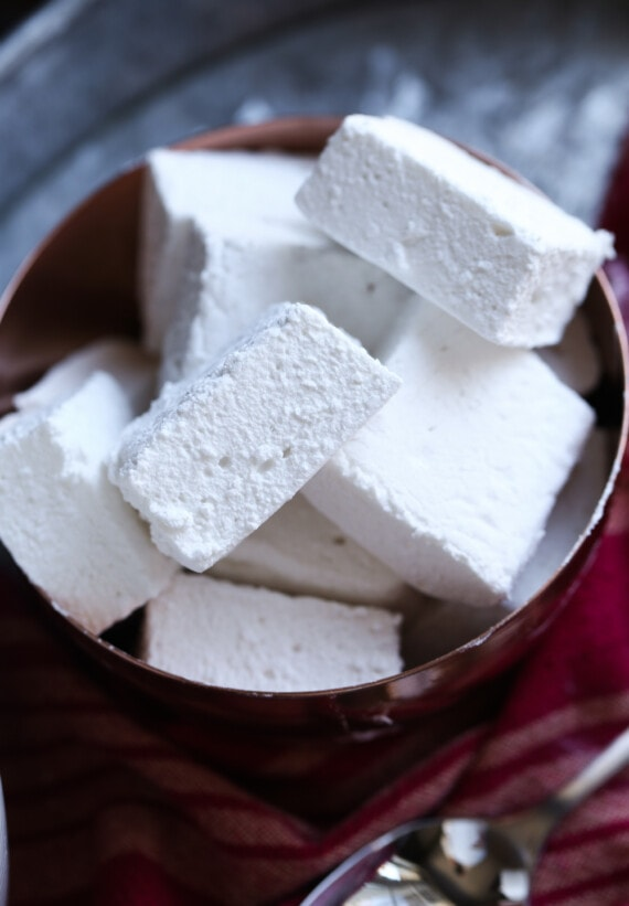 A Pile of Homemade Marshmallows in a Brown Bowl