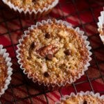 Pecan Pie Muffin from the top with mini chocolate chips