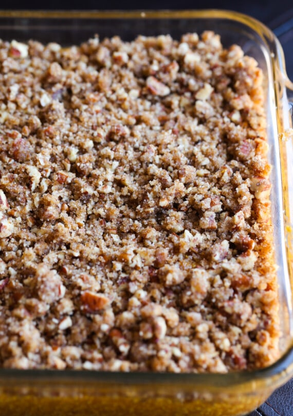 Streusel topping on top of sweet potato casserole