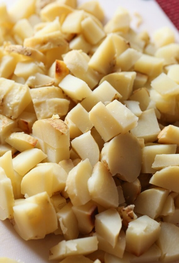 Chopped potatoes for soup.