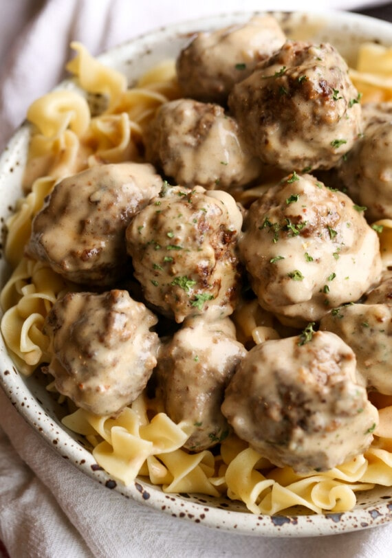 Swedish meatballs with egg noodles.