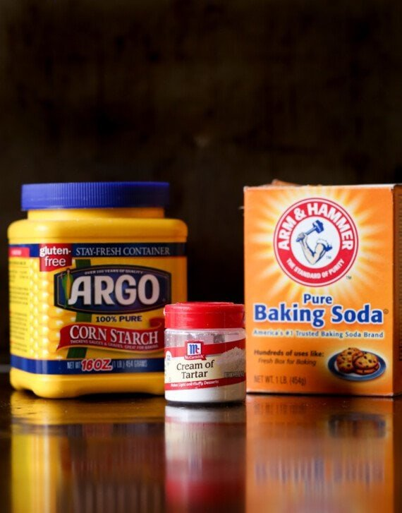 Corn starch, cream of tartar, and baking soda to make a baking powder substitute