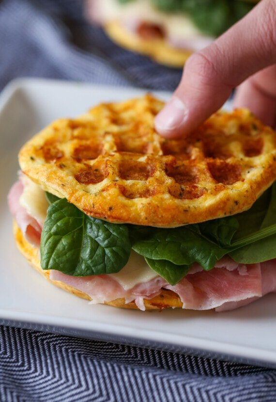 Low Carb Keto Sandwich made with chaffles