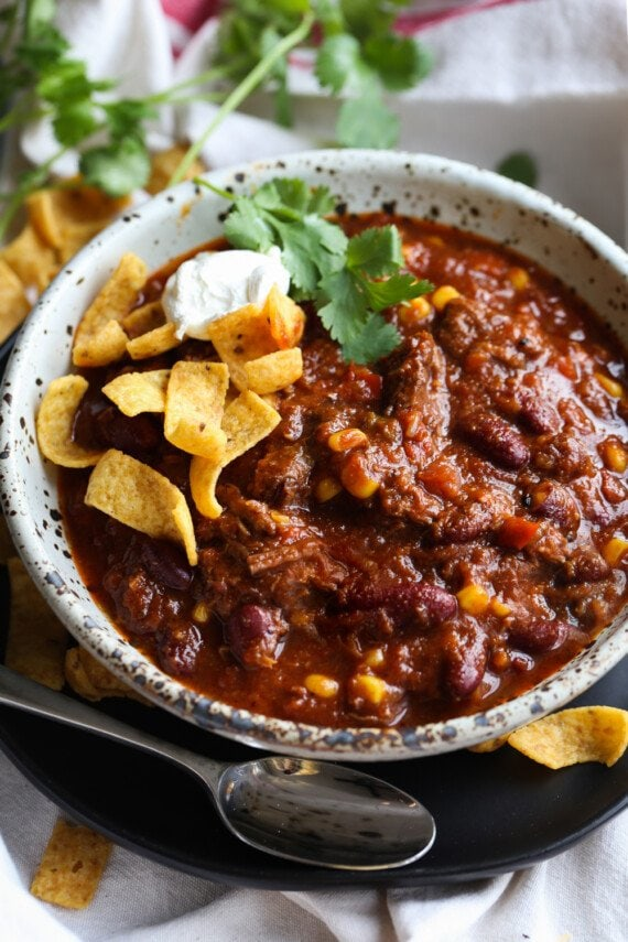 chili served in a bowl with toppings