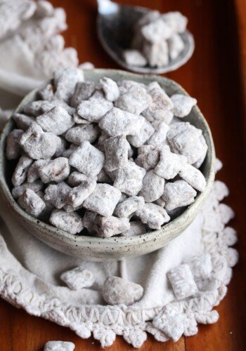Puppy Chow Snack MIx in a bowl