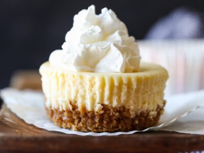 Mini cheesecake topped with whipped cream