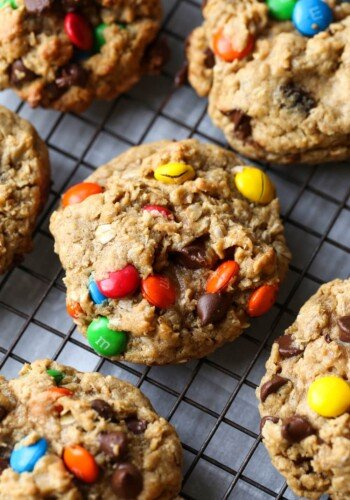 Monster Cookies are Oatmeal M&M Peanut Butter Cookies on a wore rack