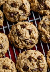 Peanut Butter Oatmeal cookies on a wire rack