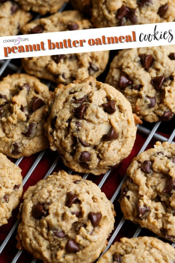 Peanut Butter Oatmeal Cookies Pinterest Image