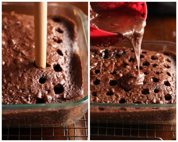 Poking holes in a baked cake and pouring chocolate ganache on top