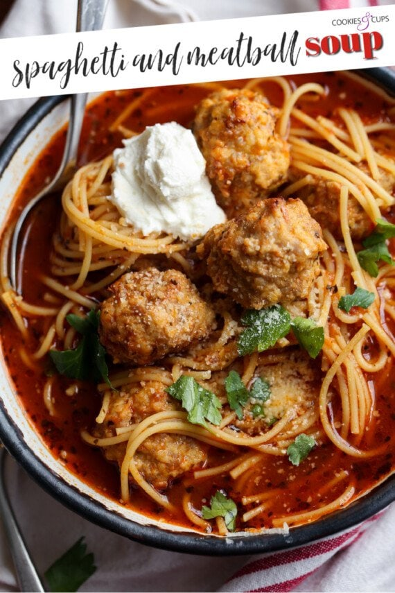 Tomato Soup with meatballs and spaghetti pinterest image