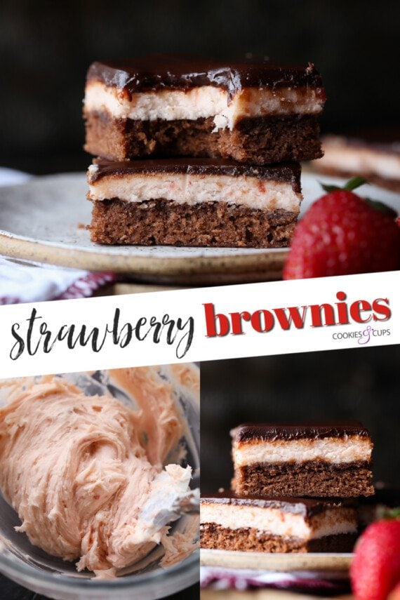 Strawberry Brownies Pinterest Image
