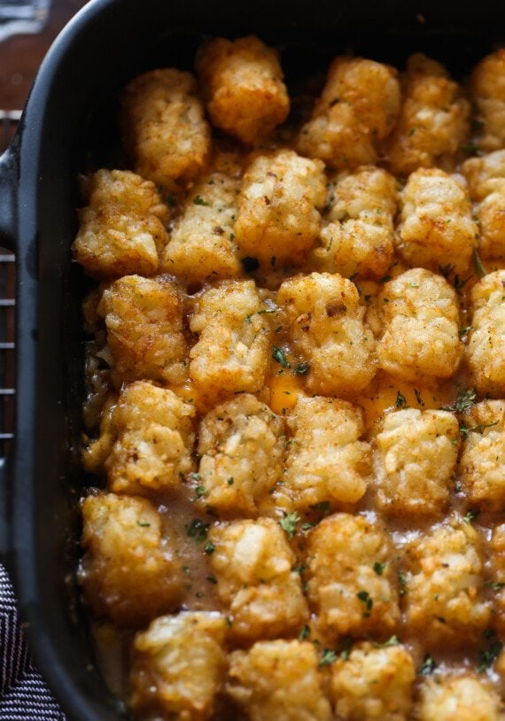 Baked tater tot casserole in a pan from above