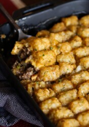 Spoonful of tater tot casserole.