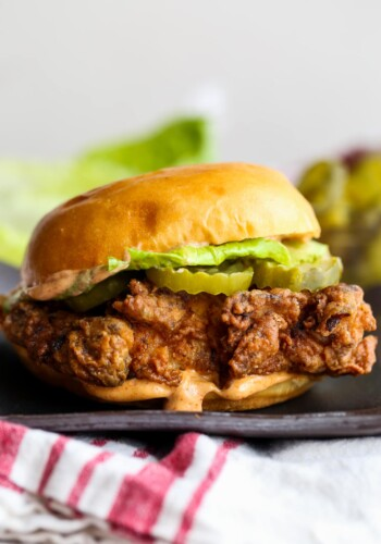 Copycat Popeyes chicken sandwich on a plate.