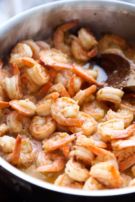 Shrimp cooked in a butter sauce.