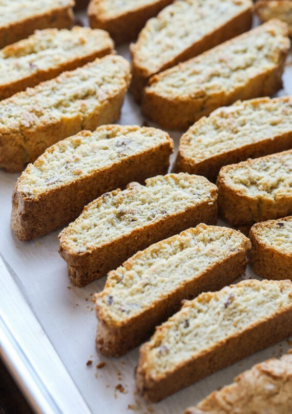 Rows of sliced biscotti cookies.