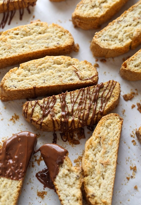 Biscotti drizzled with chocolate.