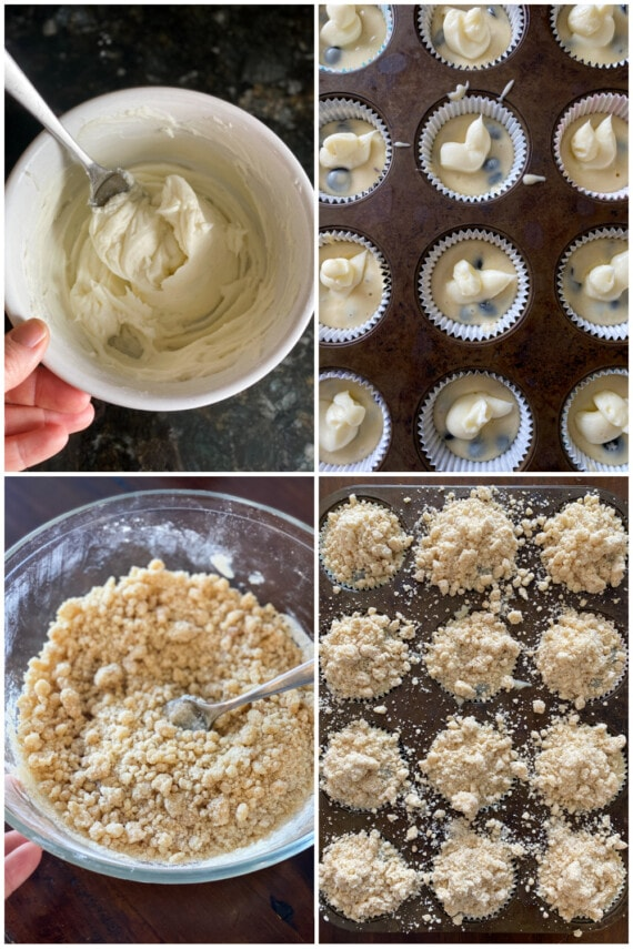How to fill blueberry muffins with cream filling and topped with streusel collage