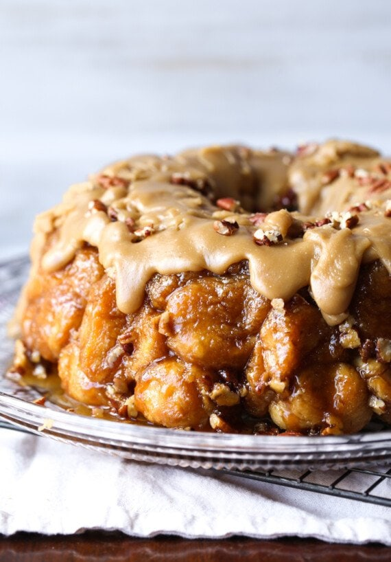 Pull Apart Monkey Bread with praline icing on a platter