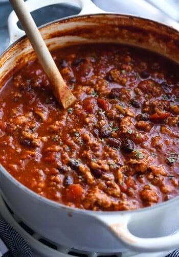 Turkey chili made in a dutch oven