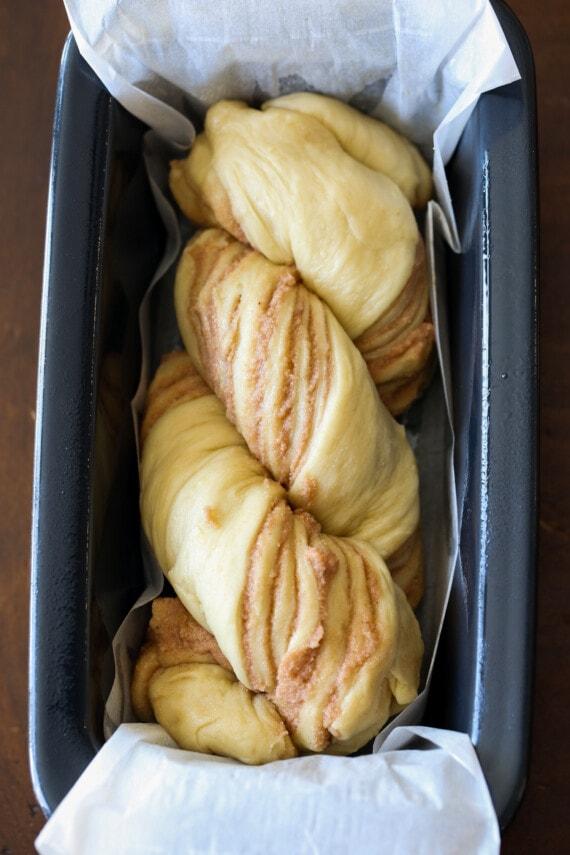 Cinnamon babka loaf in a pan.