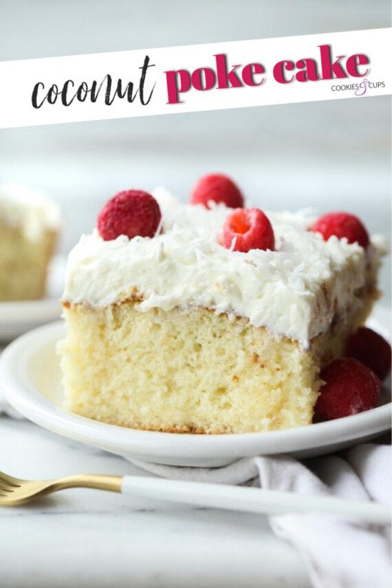 Gâteau poke à la noix de coco Pinterest Image