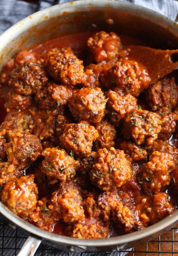 Porcupine meatballs in tomato sauce.