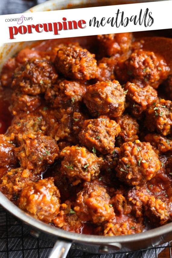 Pinterest image for porcupine meatballs.