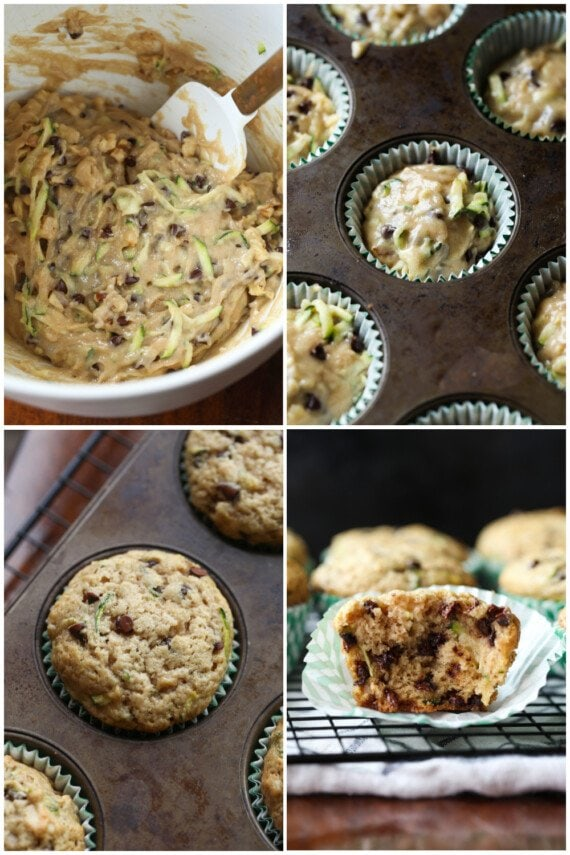 Collage with steps on making zucchini muffins